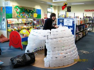 Igloo made from milk bottles creative library displays for How to build an igloo out of milk jugs